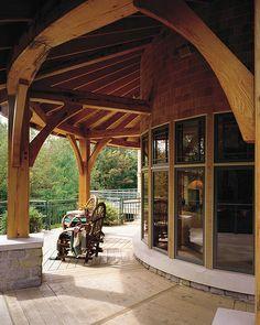 Traditional Timber Elegance Timber Frame Home - Back porch 2 by Riverbend Timber Framing, via Flickr