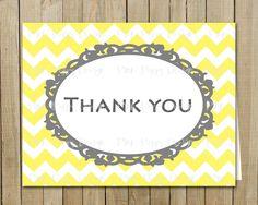 Trendy Yellow with Gray Chevron Thank You Card, Birthday, Shower, Graduation, Every Day, Custom Digital File, Printable. Pink Poppy Design, via Etsy.