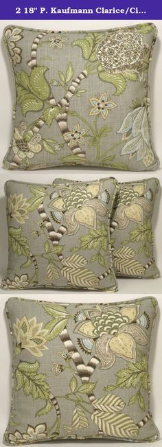 """2 18"""" P. Kaufmann Clarice/Cir Dove Jacobean Floral Gray Designer Throw Pillows. Two 18"""" square Clarice/Cir Dove Jacobean Floral Light Gray and Green Designer Throw Pillows made out of linen blend fabric by P. Kaufmann. The fabric has a stain and soil repellant finish.The pattern for the front of the pillow is shown in the first photo and the back pattern is in the second photo. The edges of the pillows are serged prior to sewing for added durability. The outside edge is finished with a..."""