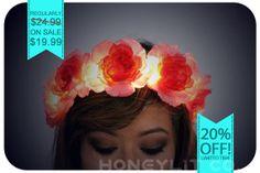 SALE on Rose Flower LED Crown  Light Up Rave by HoneylitCo on Etsy, $19.99