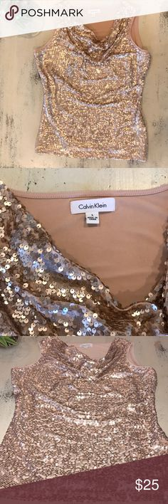 Calvin Klein Sequined Sleeveless Top 👡👛 In great used condition. Only signs of wear are some creases in the fabric on the back. Not very noticeable, especially when wearing. The cowl neck has a lovely drape by the weighted pull on the inside. This top looks great styled so many different ways! Perfect for a night out on the town, a wedding or special event. Make me an offer or bundle and save 💵 👌🏼 Calvin Klein Tops Tank Tops