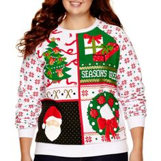Long-Sleeve Holiday Sweatshirt - Plus  found at @JCPenney