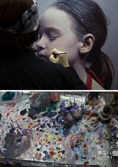 Gottfried Helnwein painting hyperreal child portrait in his art studio #workspace. helnwein.com