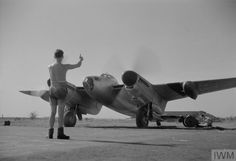 Leading Aircraftman J S Gillam of Brighton, Sussex , signals a satisfactory engine-contact to the pilot of a De Havilland Mosquito PR Mark XVI of No. 684 Squadron RAF in its dispersal at Alipore, India. Air Force Aircraft, Ww2 Aircraft, Fighter Aircraft, Fighter Jets, De Havilland Mosquito, Ww2 Planes, Vintage Airplanes, Royal Air Force, Wwii