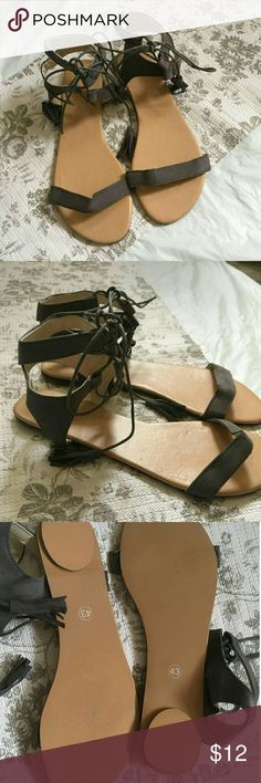 Lace up gray tassel sandal boho chic fall perfect Unbranded Are marked bigger but fit me bit loose and I'm a size 9 May fit a 10 or 9.5 Shoes Sandals