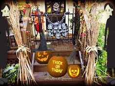 Adventures at Greenacre: Welcome Autumnween! Thanksgiving Prayers For Family, Prayer For Family, Free Fall Wallpaper, Free Thanksgiving Printables, Pumpkin Carving, Ladder Decor, Halloween Decorations, Halloween Prop, Pumpkin Topiary