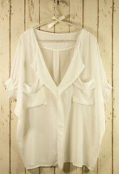 white short sleeve blouse.