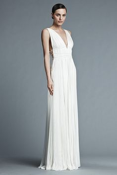 J. Mendel Spring 2015 Bridal Collection: sleeveless pleated gown with hand-picked cording detail