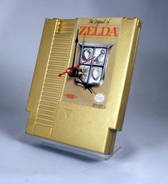 VINTAGE Gold Nintendo Zelda Cartridge Clock (1987), $17.99