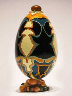 Goose eggshell, hand painted with acrylics, cold enamels and Indian ink, glass, natural pebbles and semiprecious stones Eggshell, Enamels, Golden Goose, Acrylics, Christmas Bulbs, Dancer, Stones, Hand Painted, Cold