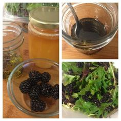 blackberry balsamic dressing. Really delicious. Only takes a tiny handful of berries and tastes really good.