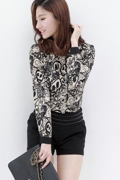Fashion Skull Print Poloneck Long Sleeve Chiffon Shirt - OASAP.com