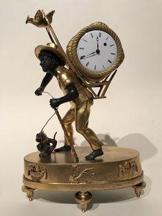 Pendulette au nègre portefaix, Paris époque Empire vers 1810 - Antiquités Franck Baptiste