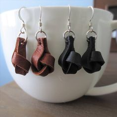 Genuine Leather Earrings - Modern Leather Knot Earrings Beautiful genuine deer skin leather and .925 sterling silver knot earrings. These stylish earrings are so unique, they are sure to be your favorite, casual and everyday wear accessory. Subtle and soft, making a beautiful yet artistic