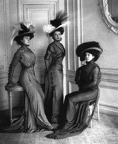vintage everyday: Typical Fashion Style of Edwardian Era – Vintage Photos of Ladies in Trailing Dresses with Peach Basket Hats