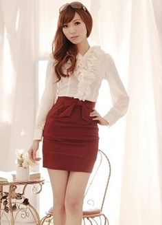 Waist Bowtie Ladies Work Skirts Red