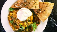 Chickpea and Lentil Curry Over Toasted Pita Recipe | The Chew - ABC.com