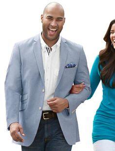 Blair Underwood Blue Stripe Linen Sport Coat | Summer Sport Coats