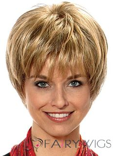 Sweet Short Straight Blonde 8 Inch Human Hair Wigs