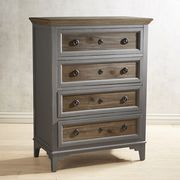 The perfect combination of slate gray and weathered wood, our Weston Collection features a two-tone finish, classic lines and modern styling. The chest features four roomy drawers for storage.