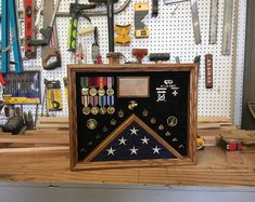 18 x 24 Military Shadow box Fabric Display, Wood Display, Display Case, Military Retirement Parties, Military Shadow Box, Military Careers, American Flag Wood, Wood Stain Colors, Solid Oak