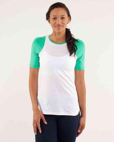 8eb079627ff Lululemon Clari-Tee Short Sleeve ~ White Very Green ~ Running Gear