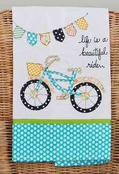 Life Is A Beautiful Ride Bicycle Embroidered Hand Embellished Dish Tea Towel 1 - Womens Bicycle - Ideas of Womens Bicycle - Life Is A Beautiful Ride Bicycle Embroidered Hand Embellished Dish Tea Towel 19 x 25 New Embroidery Designs, Hand Embroidery Patterns, Applique Patterns, Applique Designs, Sewing Patterns, Quilting Projects, Sewing Projects, Embroidered Towels, Appliques