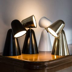 The Peppone table lamp is a modern and functional design from lighting design studio Formagenda. In chic metallic finishes, or stylish black and white, Peppone will add style to any modern space.