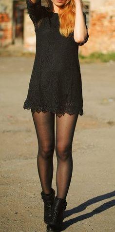 black lace dress - H & M, boots - Elilu <3