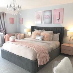75 Awesome Gray Bedroom Ideas will Inspire You Crafome Grey Bedroom Decor, Bedroom Decor For Teen Girls, Teen Room Decor, Stylish Bedroom, Room Ideas Bedroom, Small Room Bedroom, Teen Bedrooms, Master Bedroom, Ikea Bedroom