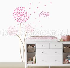 Butterfly Dandelion Wall Decal with Custom Name by InAnInstantArt,