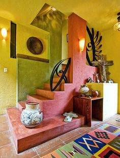 Eclectic Staircase - Found on Zillow Digs Authentic Native American Look!!