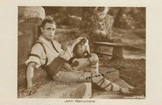 Signed postcard, c. The image shows Barrymore and his monkey Clementine in a posed still for General Crack John Barrymore, Broadway Stage, Silent Film Stars, Image Shows, Couple Photos, 1930s, Monkey, Tumblr, Couple Shots