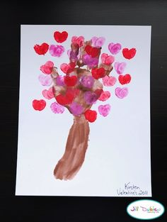 handprint and fingerprint love blossom tree for Valentines's Day - Meet the Dubiens via The Crafty Crow