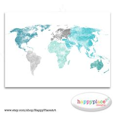 Watercolor world map vector graphic international watercolour large world map print aqua turquoise and green watercolor map printable wedding or travel map push pin map world pin map pushpin map gumiabroncs Image collections