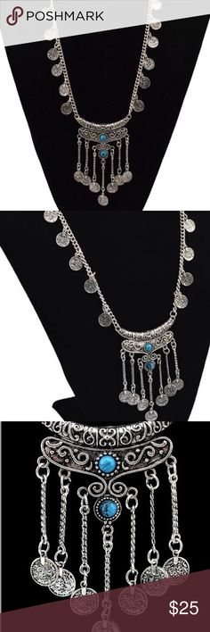 🛒Coming Soon Ethnic Bohemian Gypsy Necklace Women Statement Jewelry Ethnic Vintage Bohemian Gypsy Tibet Long Stone Carved Coin Necklaces & Pendants Sweater Chain For Women Queen Esther Etc Jewelry Necklaces