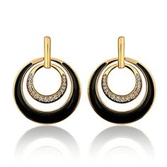 delatcha Branded Earrings Double Loop 24K Gold Plated Stud Earrings For Women Innovative Items Bijou Earring Women Big Earings 14 E877 *** Visit the image link more details. Note:It is Affiliate Link to Amazon.