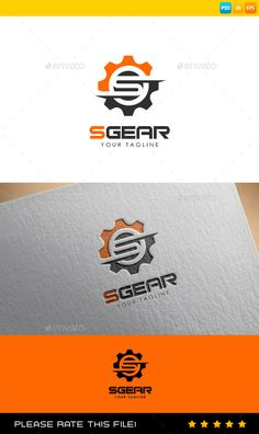 Buy Gear Logo by Exe-Design on GraphicRiver. S Logo Design, Branding Design, Photoshop Design, Logo Photoshop, Computer Theme, Gear Logo, Logo Psd, Cool Lettering, Abstract Logo