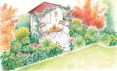 Eine ungenutzte Gartennische soll von seiner Tristen Erscheinung befreit werden. Wir präsentieren zum Einen eine Gartenidee für einen Sitzplatz, der von einem Blumenmeer umgeben ist, und zum Anderen eine Gartenidee für einen Sitzplatz der zum entspannen einlädt. (Pflanzplan als PDF zum Herunterladen und Ausdrucken)