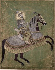 British Library, Aurangzeb on a Rearing Horse, Mughal c. 1660-70