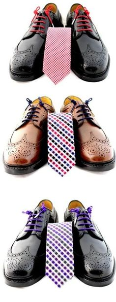 subtle matching by swapping out shoelaces to match a tie. clever, and suave!