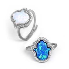 Blue and White Opal Hamsa Ring