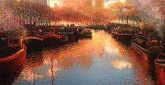 Harbor Colors by Ton Dubbeldam Embellished Giclee Edition Size 95 24 x 47