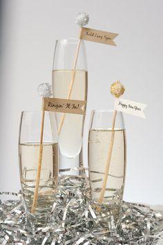 New Year Drink Stirrer  Swizzle Stick  Stir Stick by heathoriginal, $15.00
