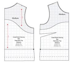 Diagram of Free Sewing Pattern of Sleeveless Top for the Great British Sewing Bee. Online downloadable Free PDF Sewing Patterns. Designed by...