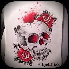 Billedresultat for skull rose drawing