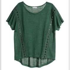 Forest green t-shirt with holes Forest green shirt, hardly worn H&M Tops Tees - Short Sleeve