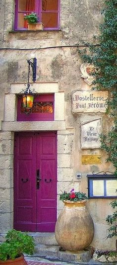 France has some of the most beautiful doors! Hostellerie Paul Jerome near Monte Carlo in La Turbie, France Cool Doors, Unique Doors, The Doors, Windows And Doors, Front Doors, Front Entry, Purple Door, When One Door Closes, Gates