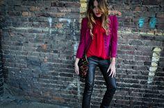 Vintage Gucci suede blazer  Vince Camuto red chiffon tank  Free People vegan leather pants  Dollhouse black pumps  Alexander McQueen ocelot print clutch