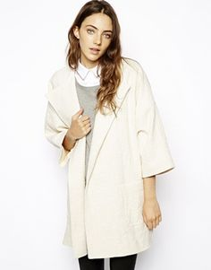 ASOS Coat in Trapeze with Stepped Hem - Cream  #asos #teen #swag #cute #hot #sexy #girl #fashion #style #model #mode #pink